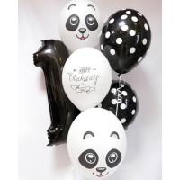 Сет шаров на День Рождения Панда с цифрой