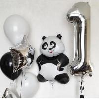 Набор воздушных шаров на День Рождения с пандой и цифрой