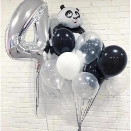 Композиция из шаров с гелием на День Рождения с пандой и цифрой