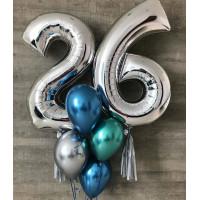 Букет шаров хром на День Рождения с серебряными цифрами