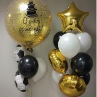 Сет шаров на День Рождения с футбольными мячами и вашим поздравлением