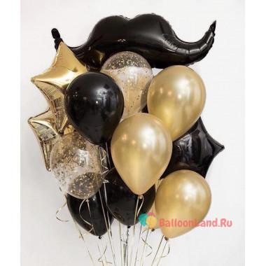 Букет воздушных шаров в чёрно-золотой гамме
