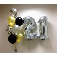 Сет воздушных шаров на День Рождения с серебряными цифрами