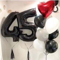 Набор гелиевых шаров на День Рождения с чёрными цифрами
