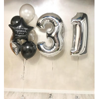 Набор шаров на День Рождения с серебряными цифрами и вашей надписью