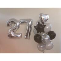 Сет гелиевых шаров на День Рождения с серебряными цифрами