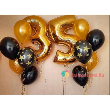 Сет гелиевых шаров на День Рождения с золотыми цифрами