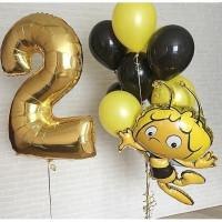 Сет шаров с гелием на День Рождения Пчёлка Майя с цифрой