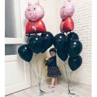 Композиция из гелиевых шаров Свинка Пеппа с черными шарами