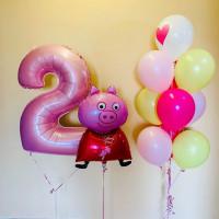Композиция из шаров со Свинкой Пеппой с цифрой на День Рождения