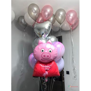 Композиция из гелиевых шаров Свинка Пеппа с сердцем и шарами агат