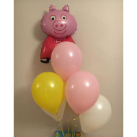 Букет из воздушных шаров с героиней м/ф Свинка Пеппа