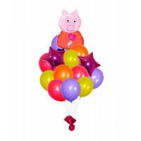 Букет шариков Свинка Пеппа со звездами