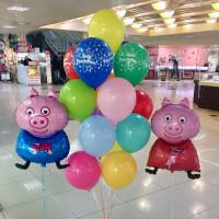 Композиция из шаров на День Рождения со Свинкой Пеппой и ее братом Джорджем