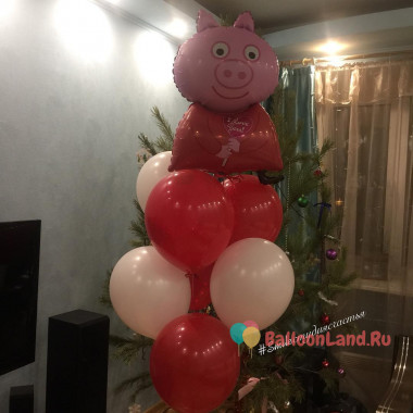 Букет из воздушных шариков со Свинкой Пеппой в красно-белой гамме