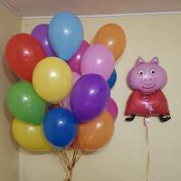Букет из воздушных шаров разноцветных со Свинкой Пеппой