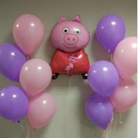 Композиция из шаров в пастельной гамме со Свинкой Пеппой