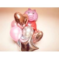 Букет шариков Свинка Пеппа со звездой и сердцами