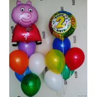 Композиция из гелевых шариков на День Рождения со Свинкой Пеппой