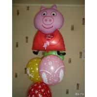 Сет из шаров с персонажем м/ф Свинкой Пеппой