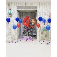 Сет из шариков с гелием персонаж м/ф Джейк и пираты Нетландии с цифрой