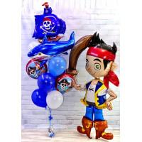 Композиция из воздушных шаров Пират Джейк с кораблем и акулой