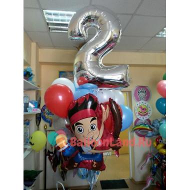 Букет шаров на День Рождения с пиратом Джейком и цифрой