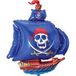 Фигурный шар Пиратский корабль с синими парусами