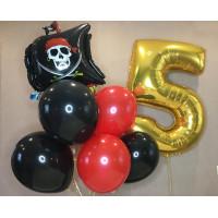 Набор гелевых шариков на День Рождения с пиратским кораблем и золотой цифрой