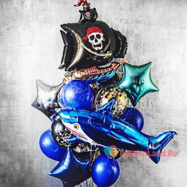 Букет шаров с гелием Пиратский корабль и акула