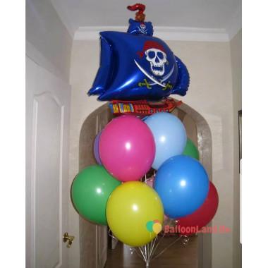Букет из шаров разноцветных с пиратским кораблем