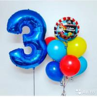 Композиция из воздушных шариков на День Рождения маленькому пирату с цифрой