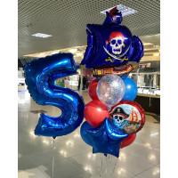 Композиция из шаров с Пиратским кораблем с синими парусами и цифрой