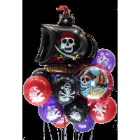 Букет шаров Пираты с черным кораблем