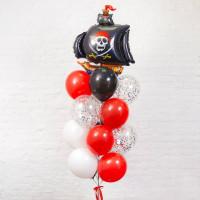 Букет из шаров с Пиратским кораблем с черными парусами
