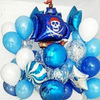 Композиция из гелиевых шариков для мальчика с пиратским кораблем