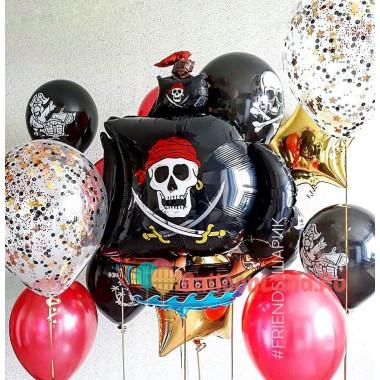 Композиция из воздушных шариков Пиратский корабль Веселый Роджер