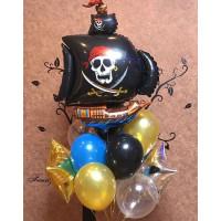 Букет из шариков с пиратским кораблем