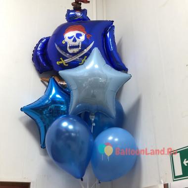 Букет шаров Пиратский корабль в синих тонах