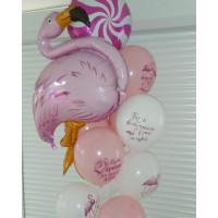 Букет шаров подруге с фламинго, леденцом и пожеланиями