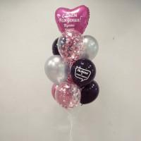Букет шариков подруге на День Рождения с шарами для селфи