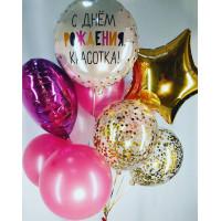 Букет шаров на День Рождения Подружке со звездой и сердцем