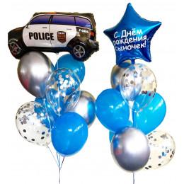 Композиция из шаров сыночку с полицейской машинкой и звездой с вашим текстом