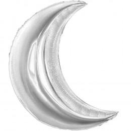 Шар-полумесяц большой Серебренный металик