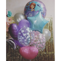 Букет из шариков София Прекрасная со звездами и сердцами