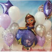 Композиция из гелевых шариков София Прекрасная со звездами и шарами с конфетти