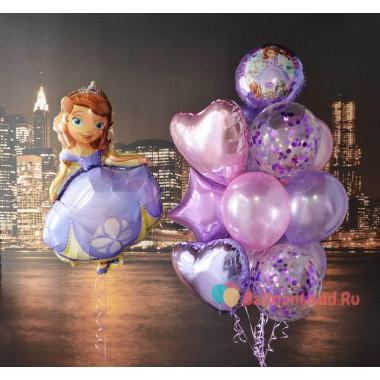 Композиция из воздушных шариков София Прекрасная с сердцами и шарами с конфетти