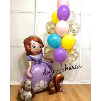 Композиция из воздушных шаров с Принцессой Софией и шарами с конфетти