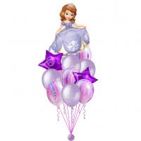 Композиция из воздушных шариков с Софией Прекрасной, звездами и шарами агат