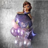 Букет воздушных шаров с Принцессой Софией Прекрасной, звездой и шарами с конфетти